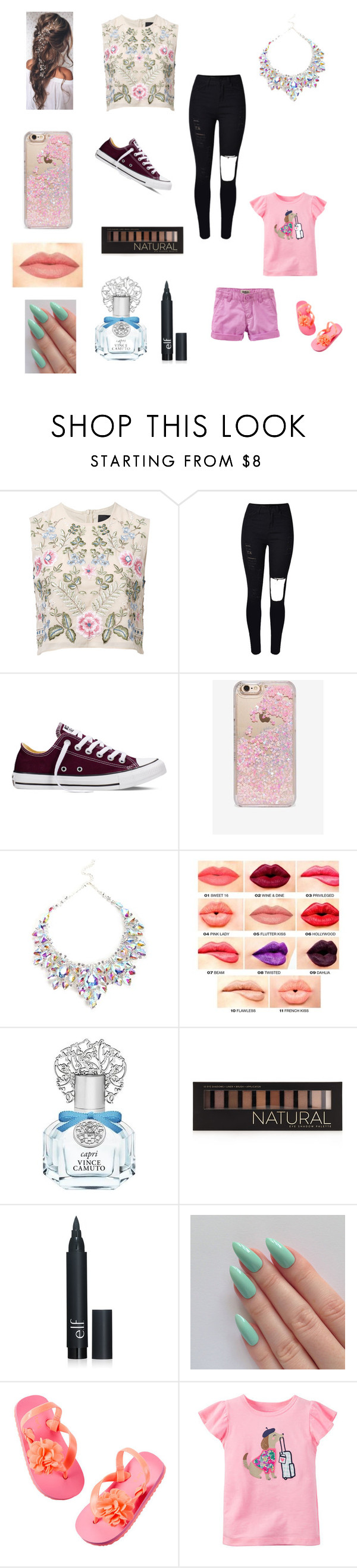 """Having mother and daughter time"" by bellzellz ❤ liked on Polyvore featuring Needle & Thread, Converse, Skinnydip, NYX, Vince Camuto, Forever 21 and Carter's"