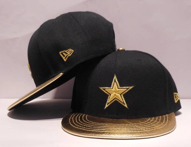 NFL Adjustable Hats Dallas Cowboys Black Snapback Hats Gold LOGO Gold Brim 651370496