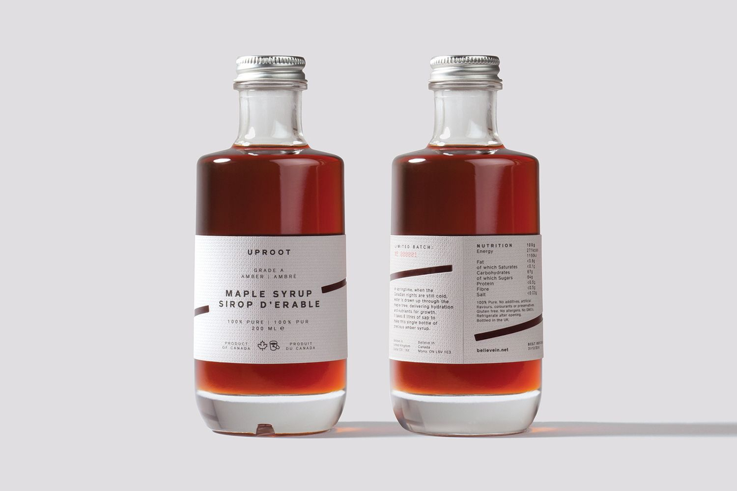 New Packaging For Uproot By Believe In Bp O Wine Bottle Design Bottle Maple Syrup Bottles