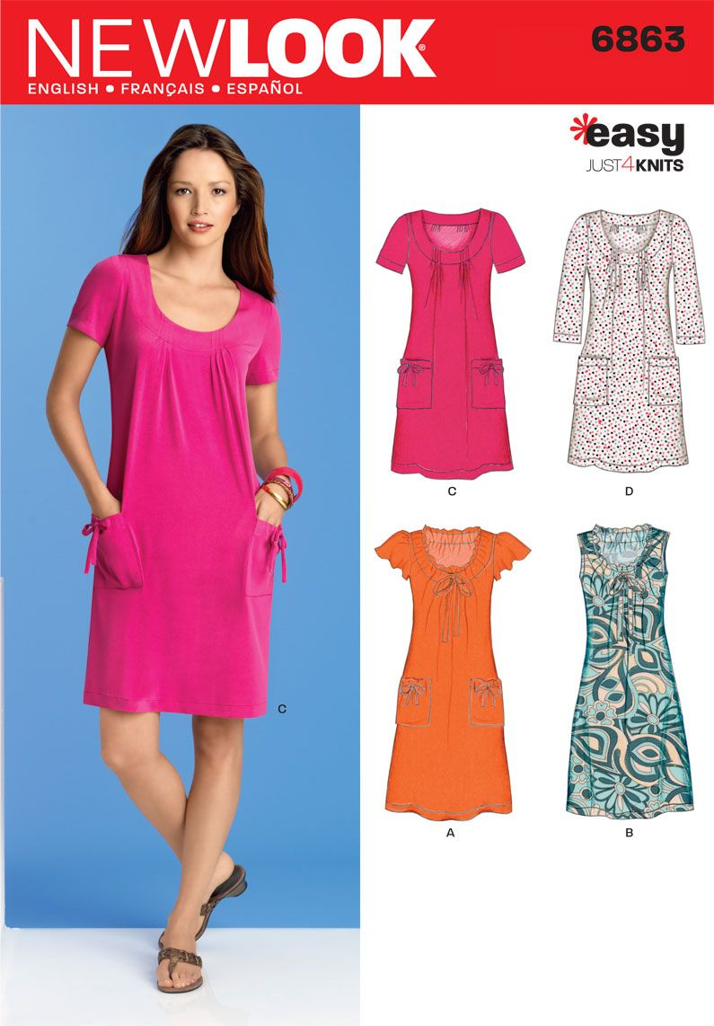 Womens Knit Dress or Mini Dress Pattern 6863 New Look Patterns ...
