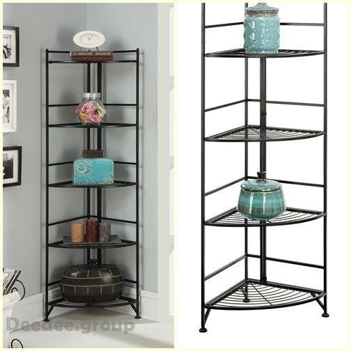 5 Tier Folding Shelf Metal Corner Etagere Durable Display Stand Storage Decor Home Decor Furniture Shelves Rake Decor