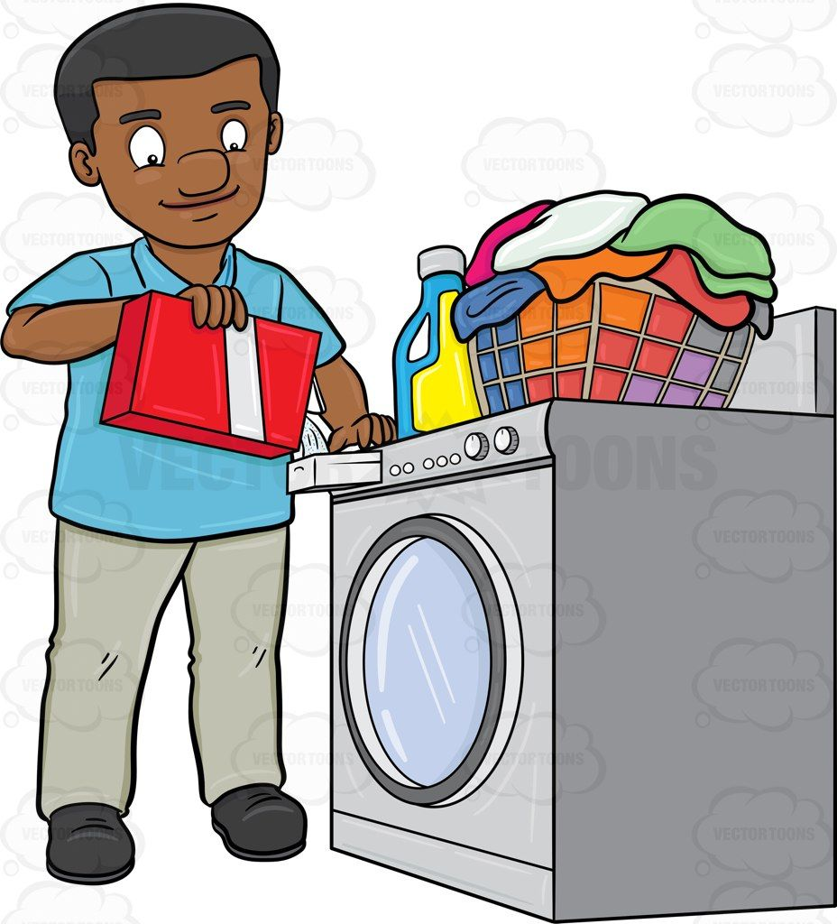 Cartoon Clothes Dryer ~ A black man adding good measure of detergent powder to