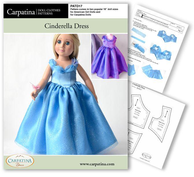 Cinderella Dress ~ PDF Download Pattern | American Girl Doll Custom ...
