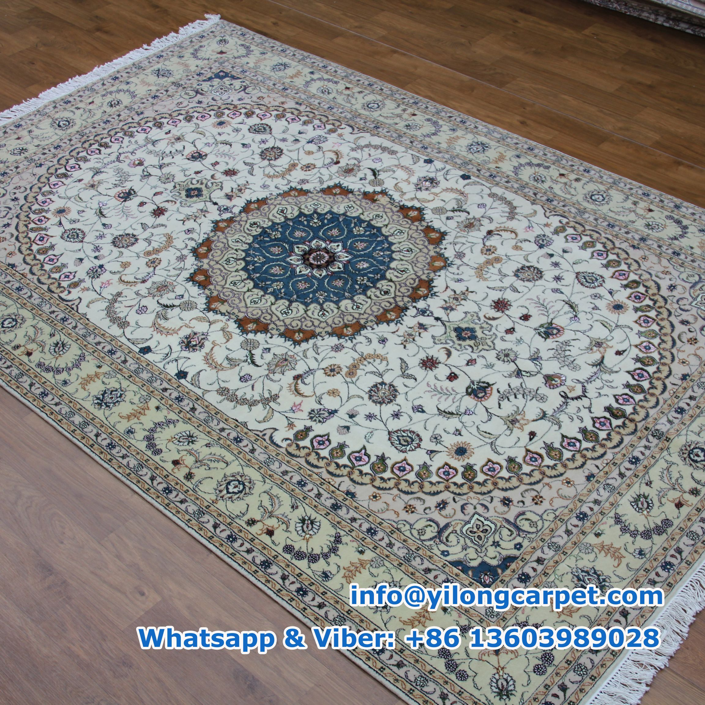 Wsw03 6 X 9 Persian Rug Wool Silk Mixed 200 Lines Handmade Made By Yilong Carpet Color Blue Orange Light Green White Red Pink Yellow