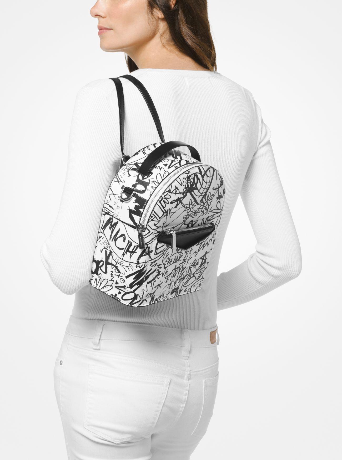 ebb6cb404bbe Michael Kors Jessa Small Graffiti Leather Convertible Backpack - Optic White