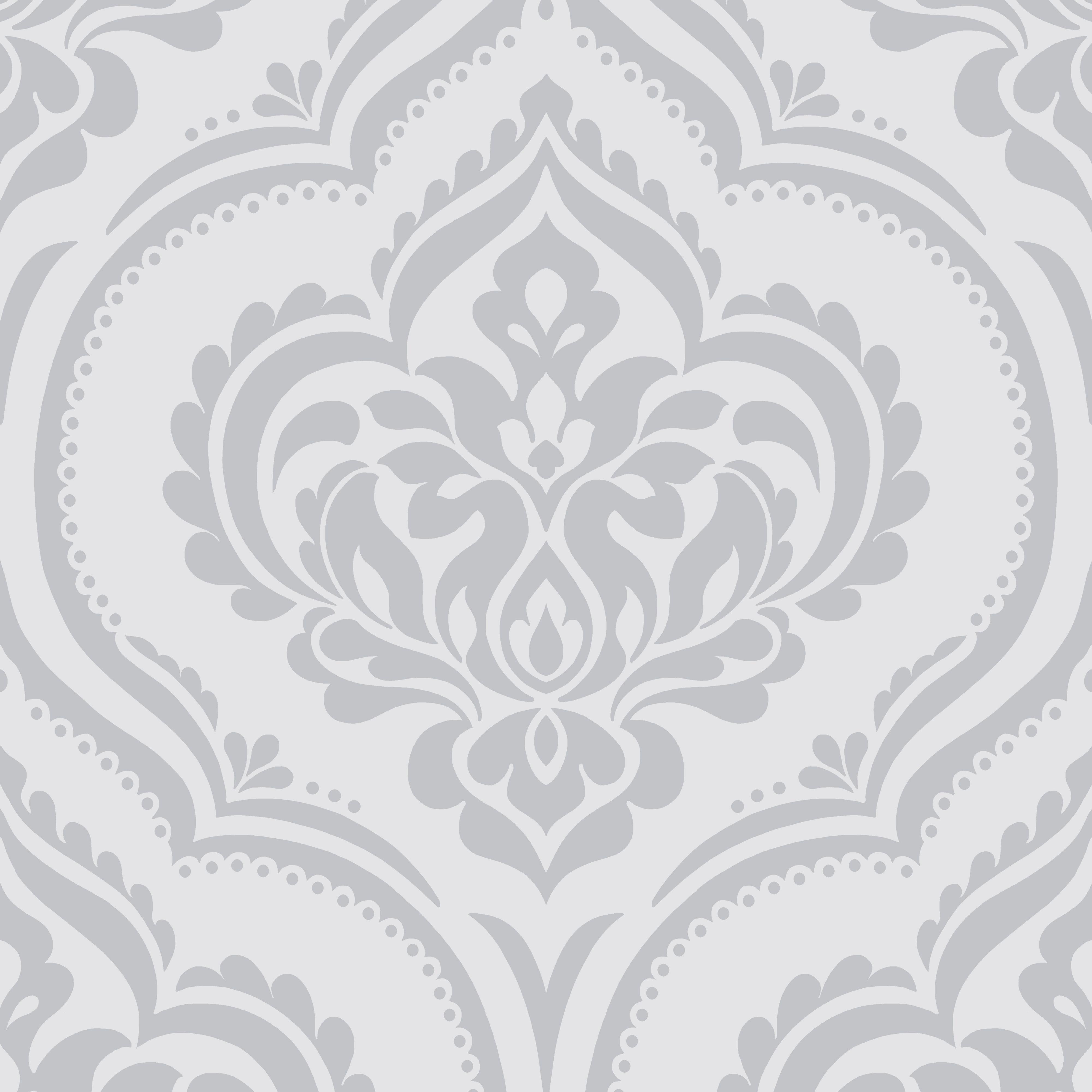 Sparkle Ornamental Damask Soft Grey Glitter Effect Matt Wallpaper    Departments   DIY at B Q. Fine D cor Sparkle Soft Grey Ornamental Damask Glitter Effect