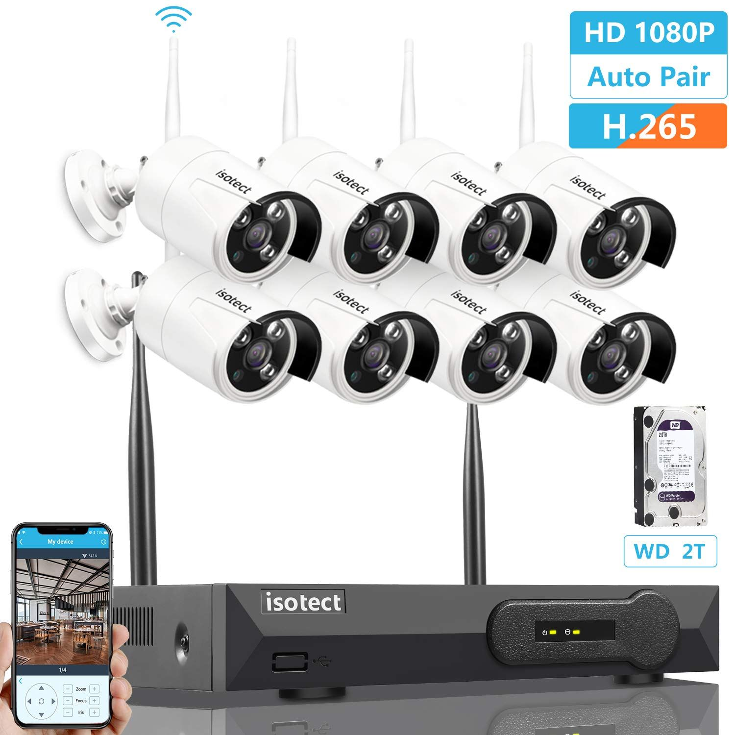 Wireless Security Camera System Isotect 8ch Full Hd 1080p Video Security Wireless Security Camera System Wireless Home Security Systems Video Security System
