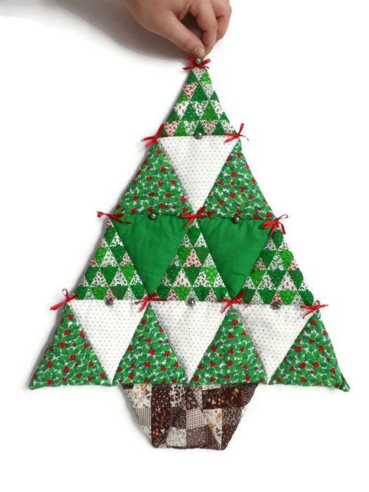Vintage Patchwork Fabric Christmas Tree / Wall by OctoberNative, $12.50