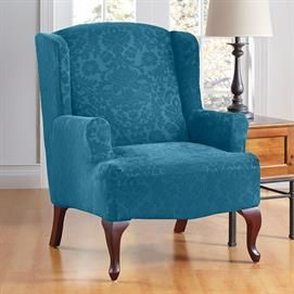 Stretch Damask Wing Chair Slipcover | Wing Chair Covers | Brylanehome, For  The Bedroom Chair