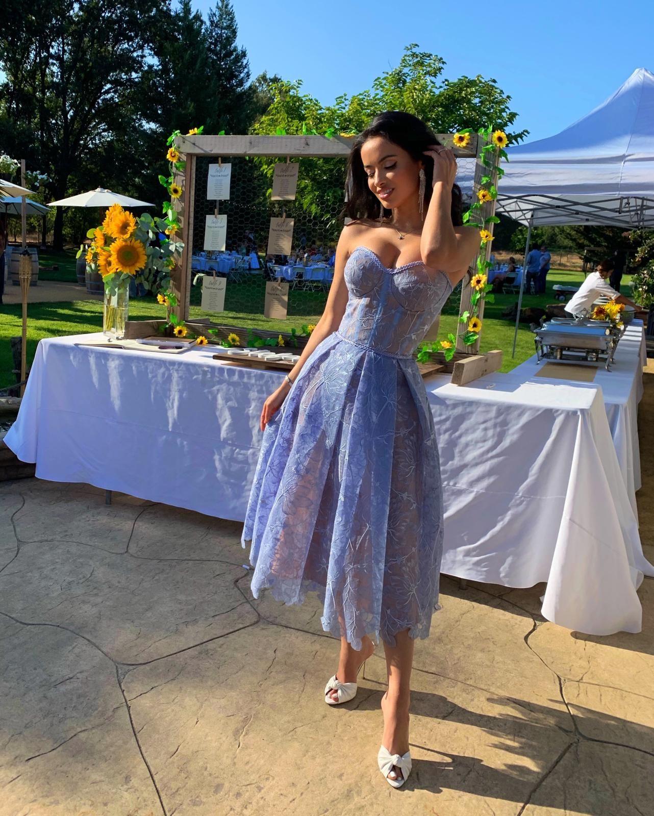OLIVIA BLUE  Corseted Midi Dress  NADINE MERABI   Dresses, Glamour ...