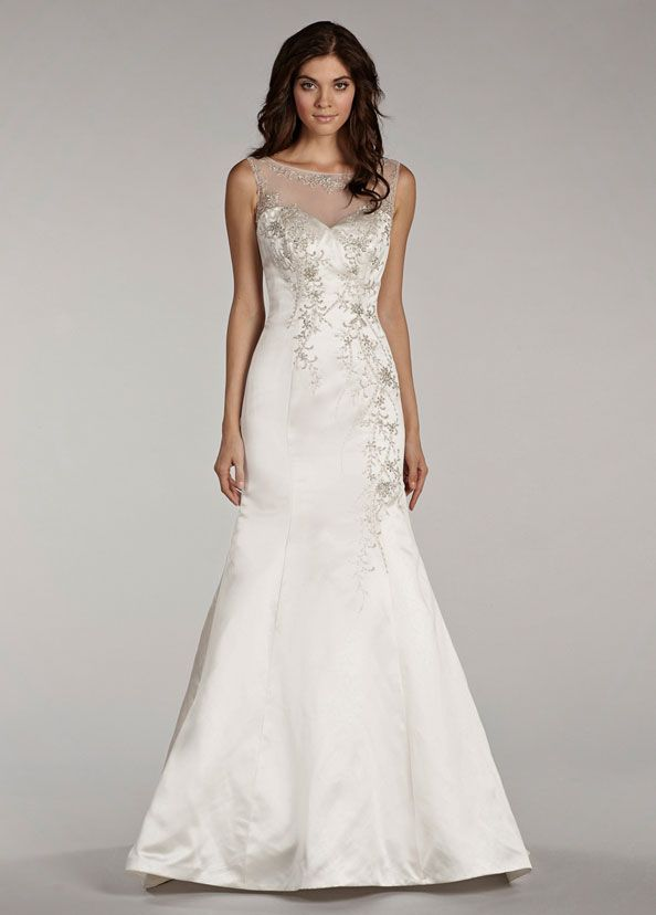 Ivory satin trumpet gown, beaded bodice with illusion bateau ...