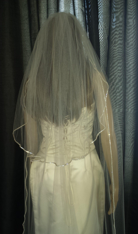 Ivory Veil Diamante Rhinestone Edged Wedding 2 Tiers Chapel 30 108