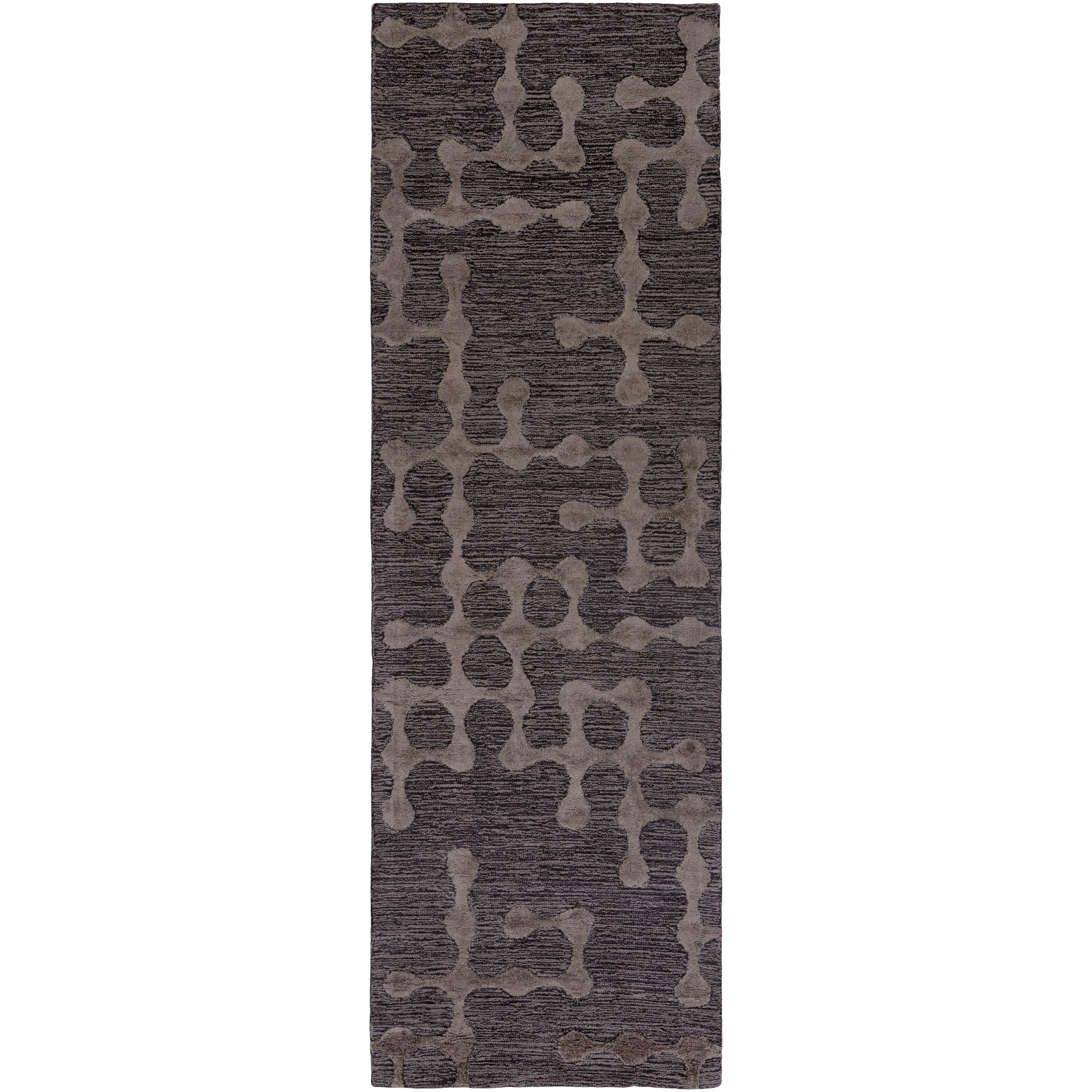 Hand Hooked Graben Cotton/Viscose Rug (2'6 x 8') (Charcoal Grey), Black, Size 2' x 8'