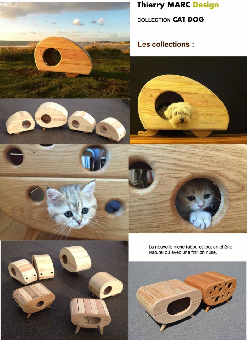 Niche chat chien bois design thierry marc vintage recycl made in france dog house pinterest - Niche chat design ...