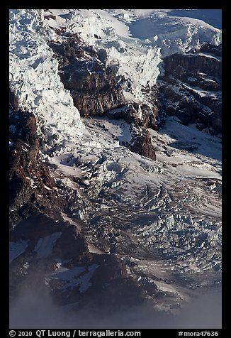 Glaciers, crevasses, and seracs. Mount Rainier National Park (color)