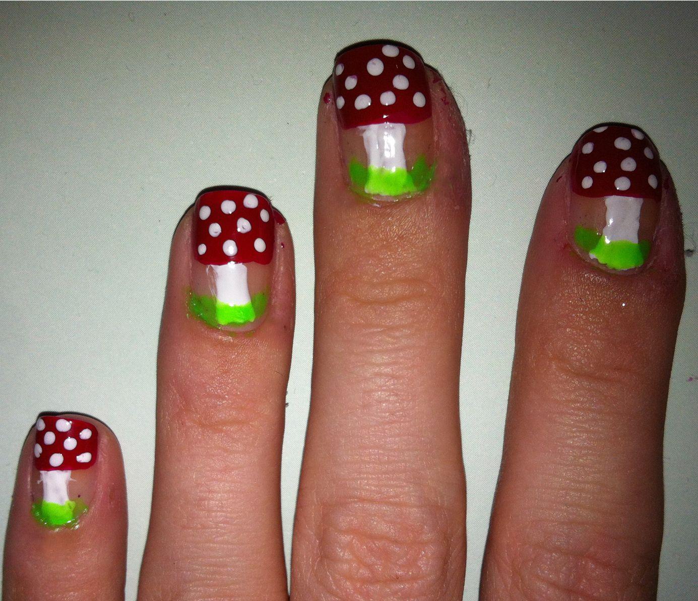 Nails with mushrooms amazing nail art pinterest mushrooms