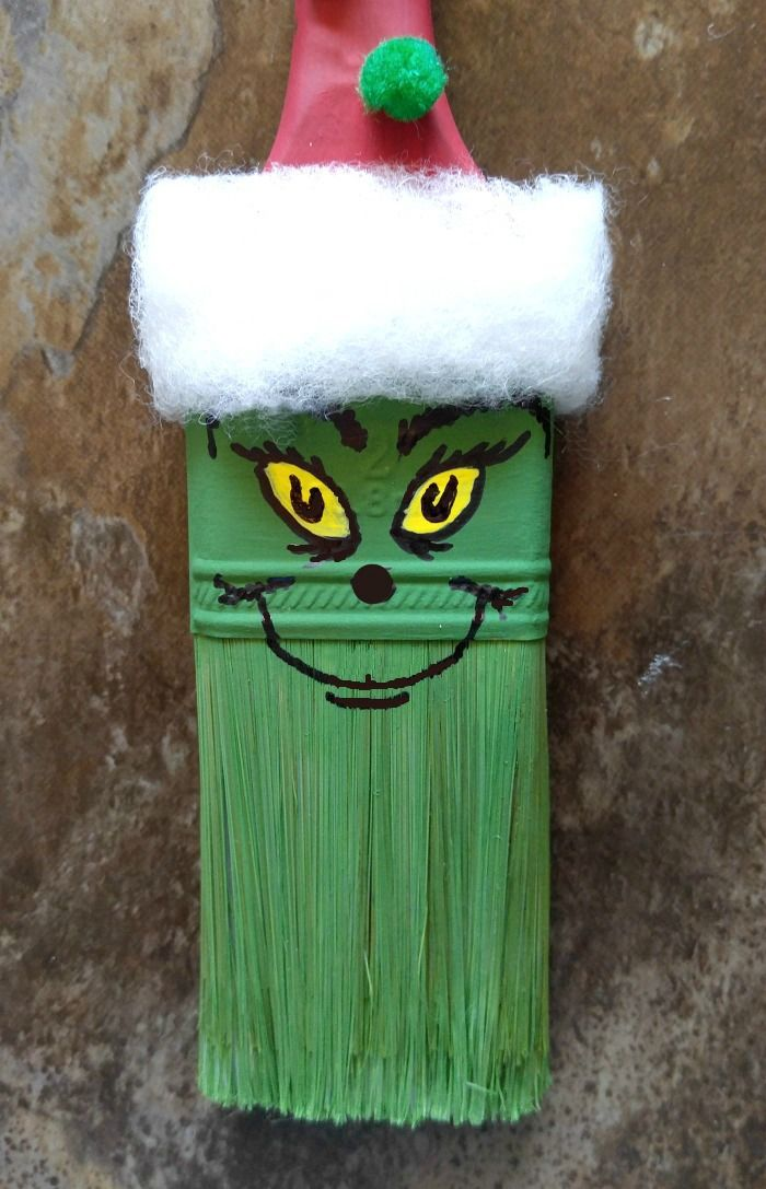 Grinch Paintbrush Ornament Recipe Diy christmas