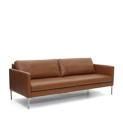 Canapé en cuir couleur camel