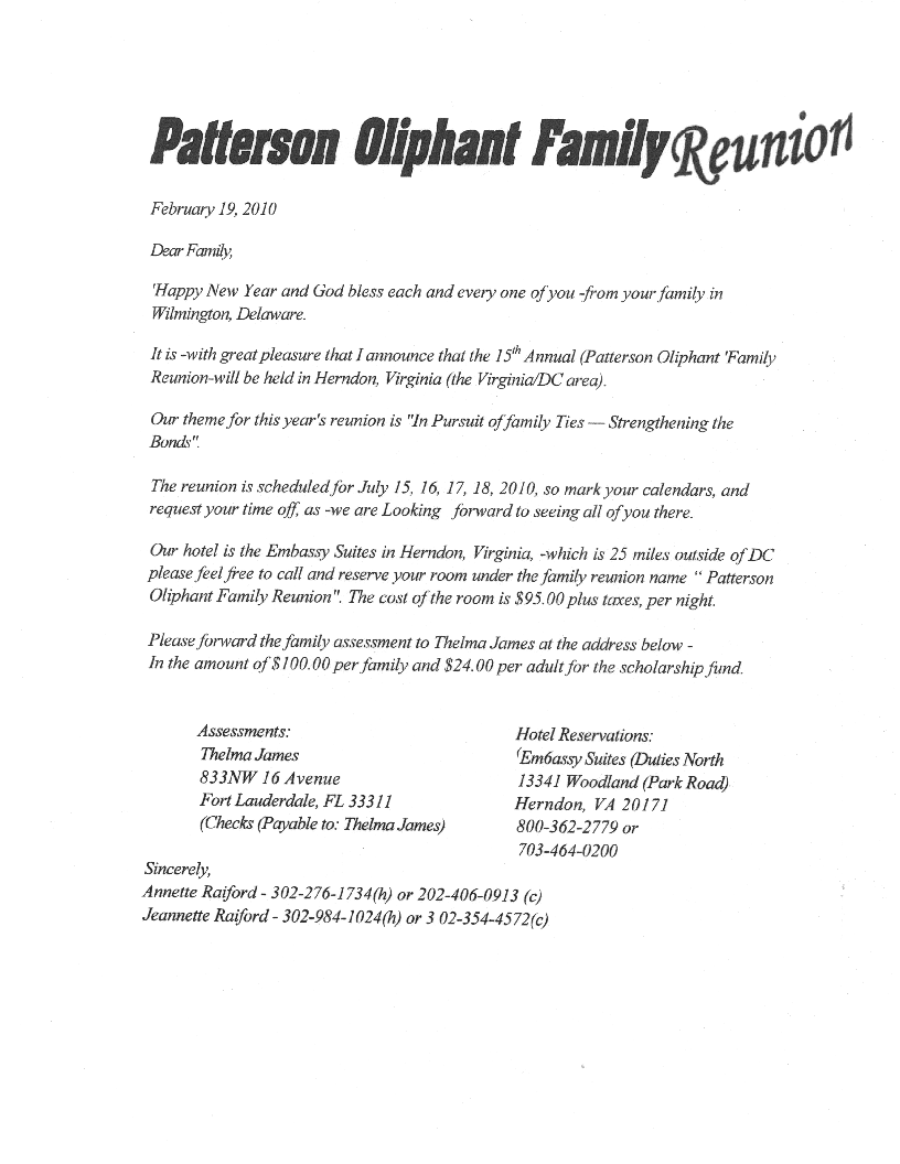 Printable Example Of Family Reunion Program | PATTERSON / OLIPHANT FAMILY  REUNION. Templates FreeLetter ...  Free Printable Family Reunion Templates