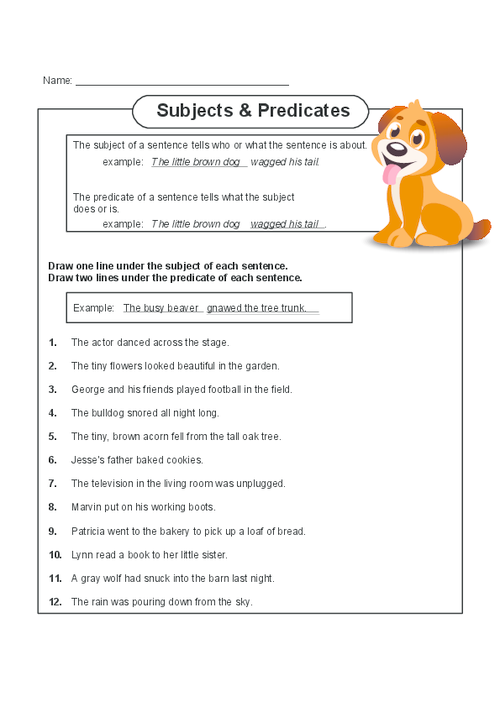 Subjects And Predicates Grammar Practice Subject