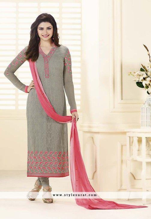 Prachi Desai Grey And Pink Straight Long Salwar Kameez