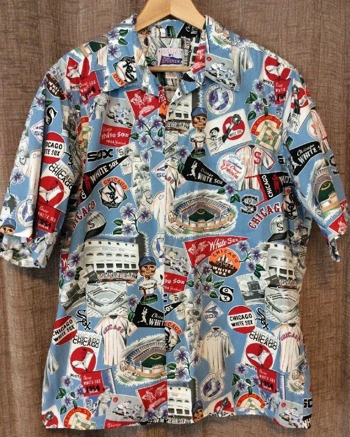 Reyn spooner xl chicago white sox hawaiian shirt comiskey for Lsu hawaiian print shirts