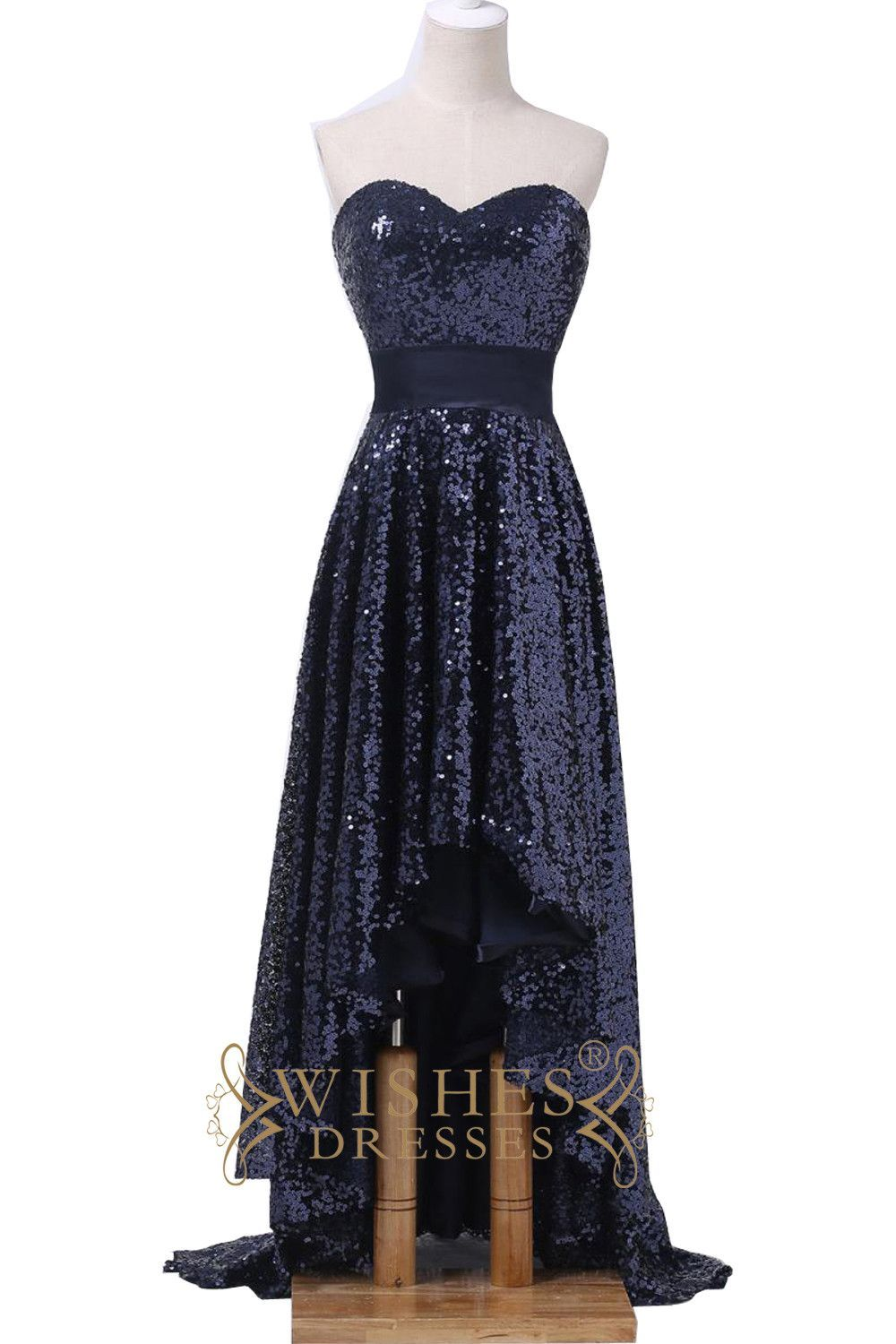 79a6dca8d36175 This hi-lo dress make of shiny dark navy sequins cloth while the top cut  sweetheart neckline