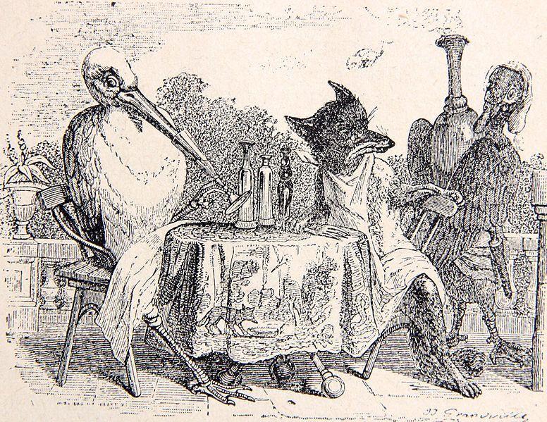 Fable le renard et la cigogne de jean de la fontaine illustration granville jury noel jean - Le renard et la cigogne dessin ...