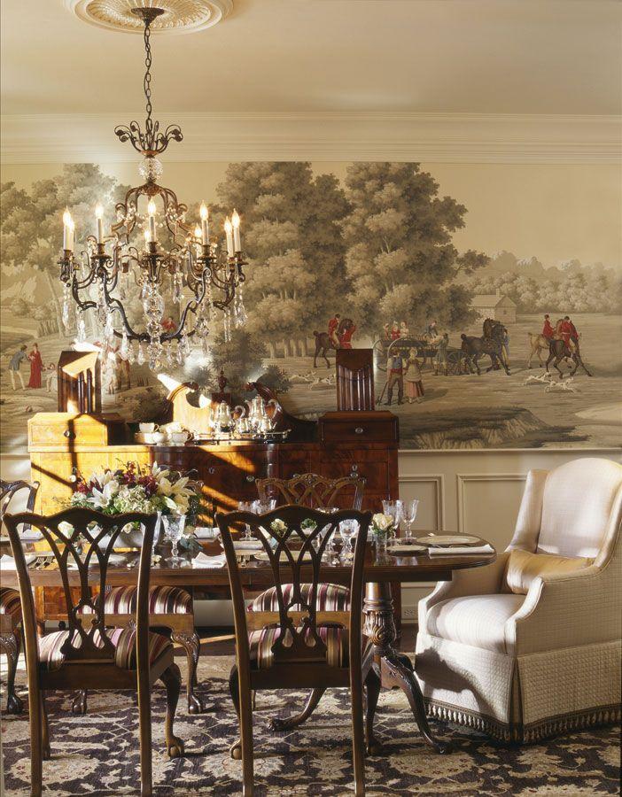 Elegant Classic Western Painting Hand Painted Silk Wallpaper