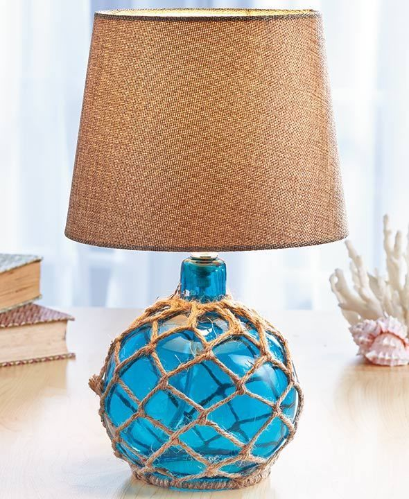 Blue Coastal Glass Float Lamp Beach House Ocean Sea Nautical