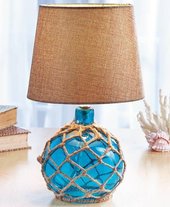 Blue Coastal Glass Float Lamp Beach House Ocean Sea Nautical