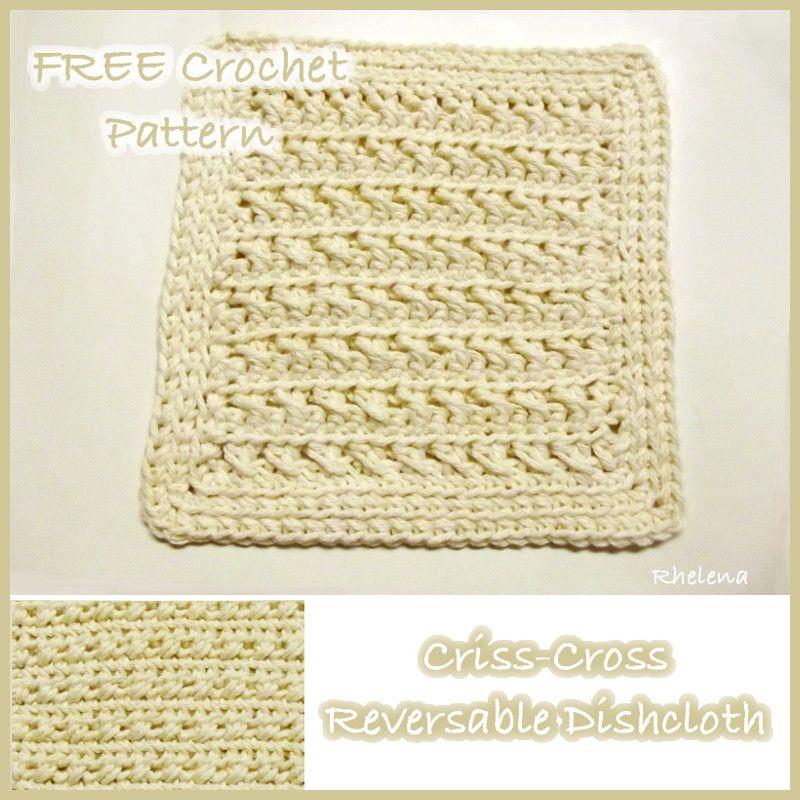 FREE crochet pattern for a Criss-Cross Reversible Dishcloth ...