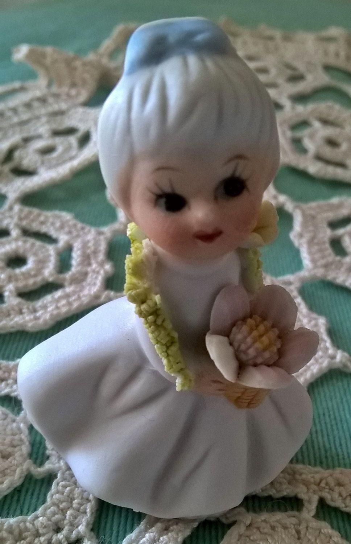 Vintage Ceramic WaterLilly Fairy Figurine..circa 1980s.. by ZiZiVintageStore on Etsy