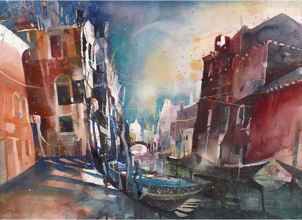 Venice 4 Bernhard Vogel Aquarelle Contemporain Et Tableau