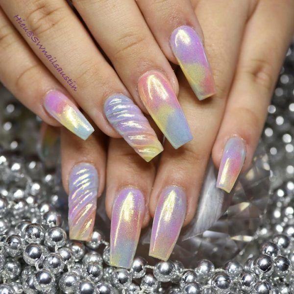 10 Impressive Coffin Nails , Ballerina nail designs