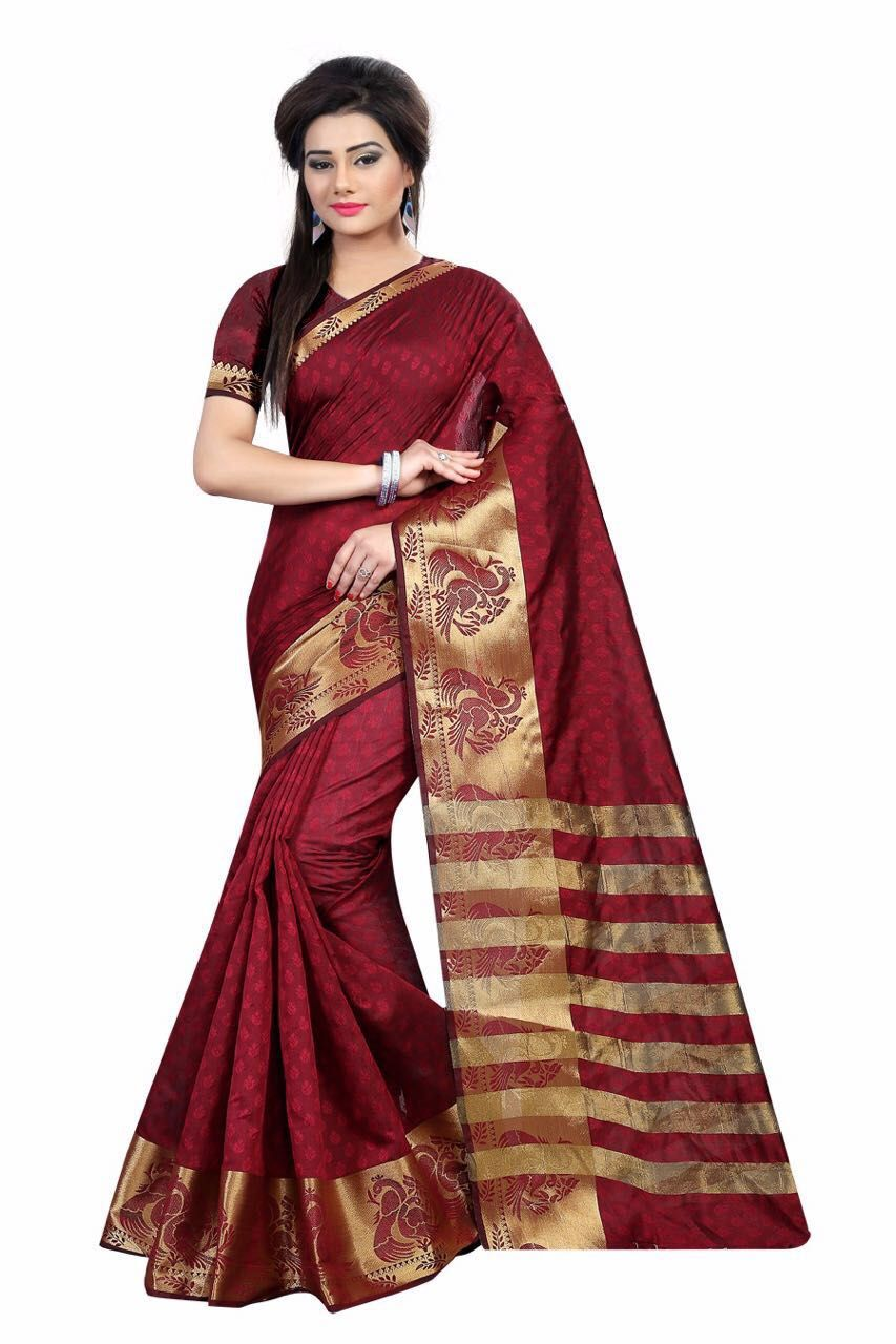 a50f2ba9b2 Now36 fabulous Red color Art Silk Jacquard Saree | Z Fashion | Saree ...
