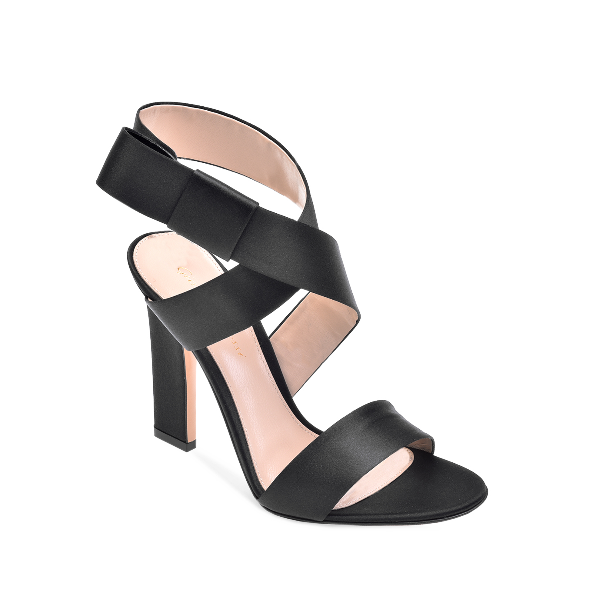 This bold sandal is constructed ofBlack satin and is designed with a cross ankle  strap.