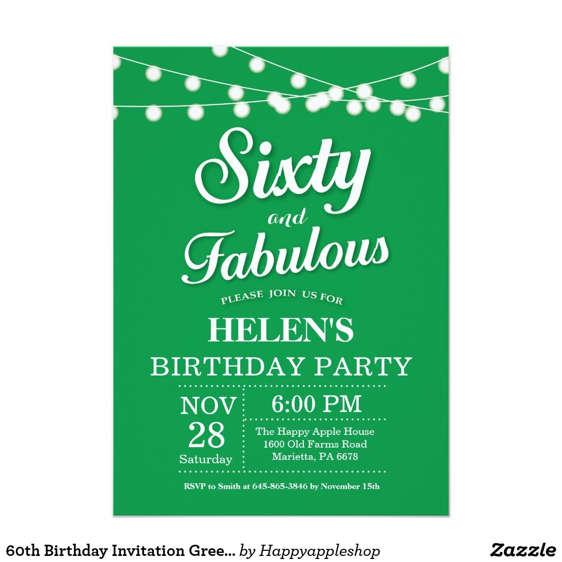60th Birthday Invitation Green Fabulous | Zazzle.com | 40th birthday  invitations, 50th birthday invitations, 60th birthday invitations