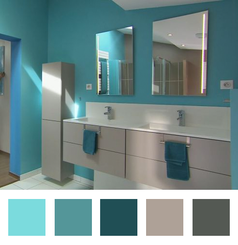 une salle de bains turquoise dccv ForSalle Bain Turquoise