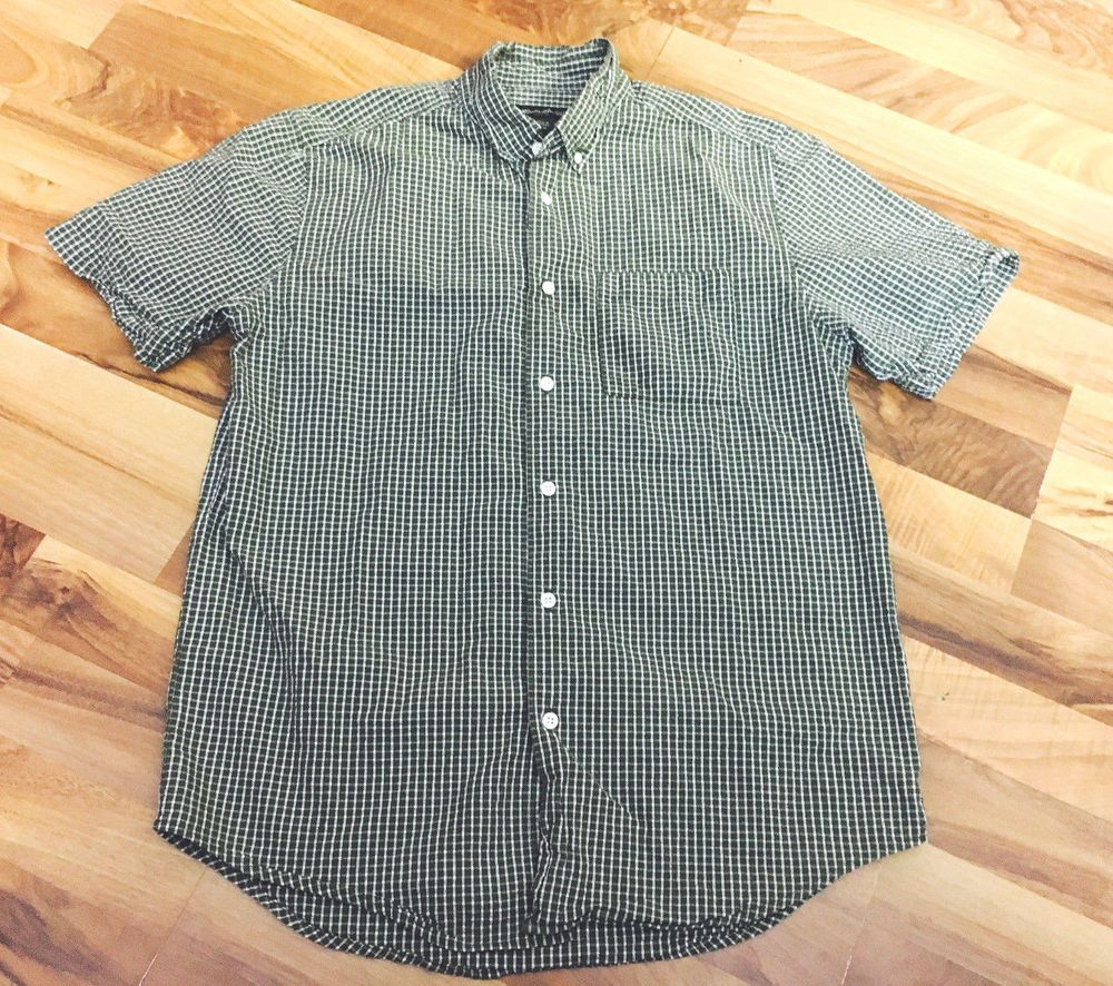 fe2ae61406cd7 Mens Size Medium EDDIE BAUER Green Checker 100% Cotton Button Up Top Shirt   EddieBauer  ButtonFront