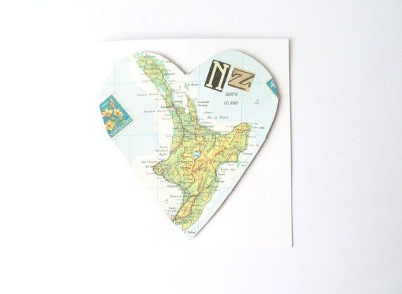new zealand map greeting card heart shaped vintage north
