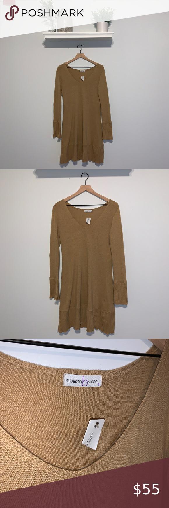 Rebecca Beeson Tan Long Sleeve Dress Long Sleeve Dress Clothes Design Ruffle Bell Sleeve [ 1740 x 580 Pixel ]