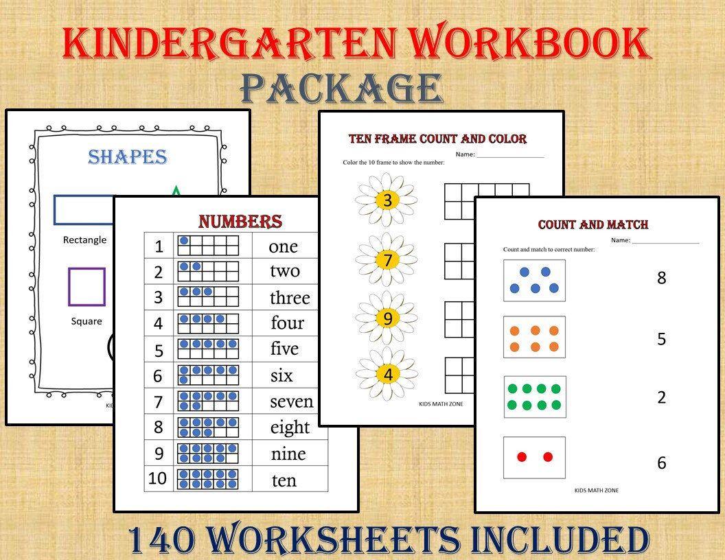 Kindergarten Workbook 140 Worksheets Instant Download Etsy In 2020 Kindergarten Workbooks Kids Math Worksheets Printable Alphabet Letters [ 816 x 1056 Pixel ]