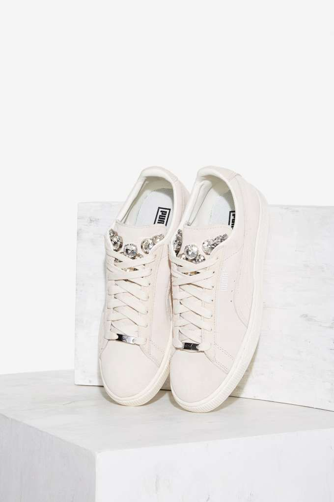 puma basket jewels suede sneaker