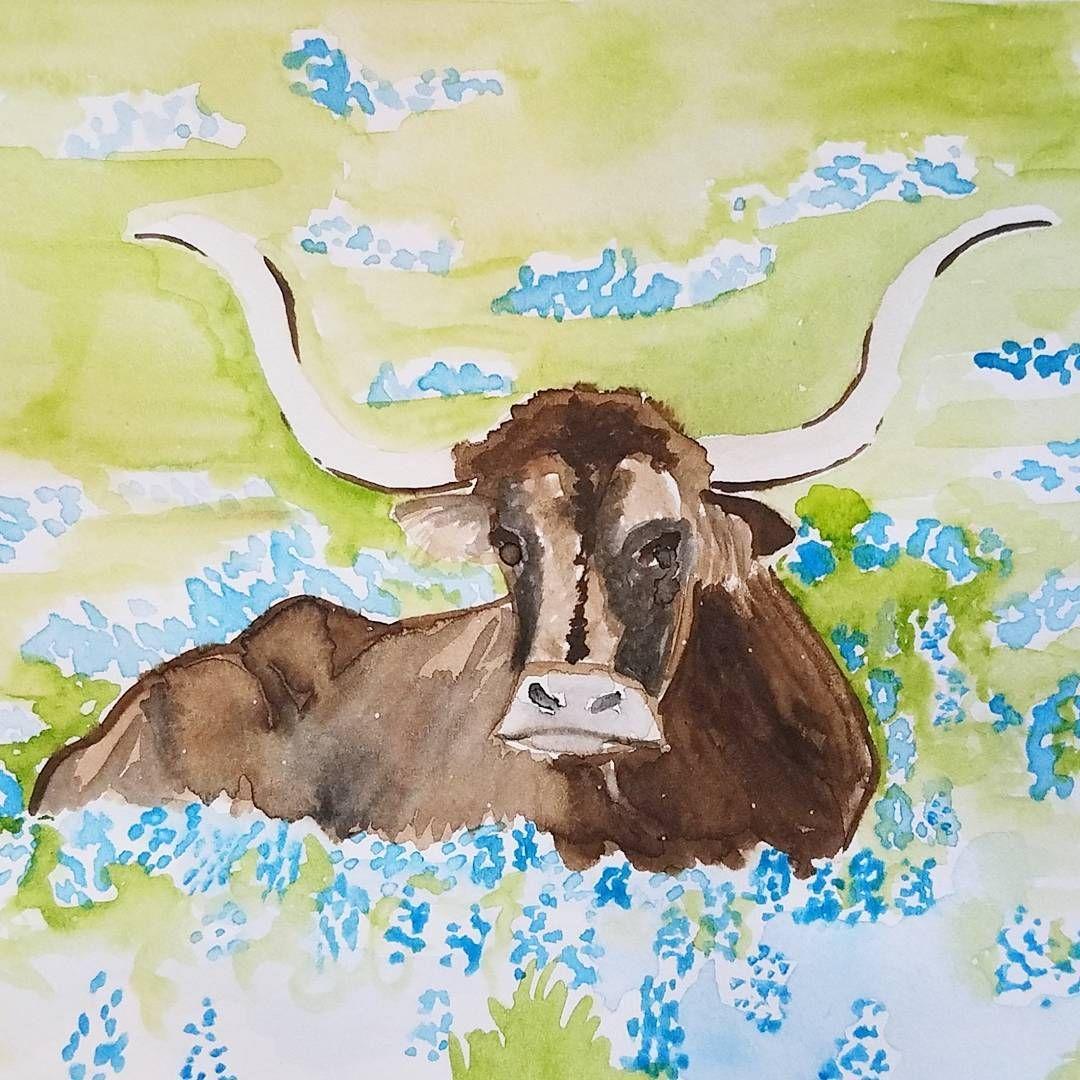 Texas Longhorn in a bluebonnet field done in watercolor by Alexa\'s ...