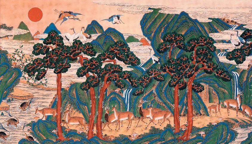 Ship-jangsaeng Ten Symbols of Longevity(이미지 포함) | 한국화, 손그림, 한국