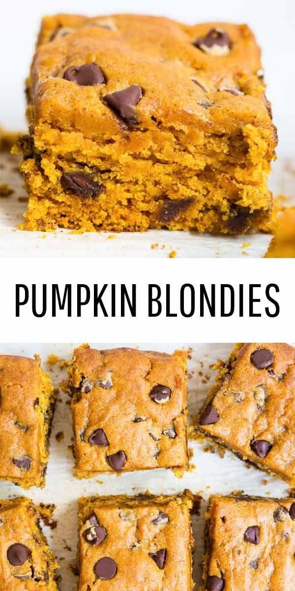 Pumpkin Blondies Recipe Pumpkin Recipes Pumpkin Dessert