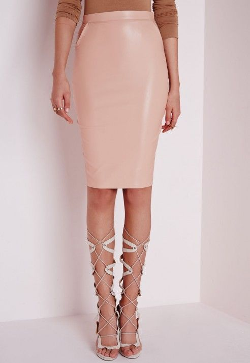 Mariota Faux Leather Midi Skirt Nude - Faux - Leather - Skirts ...