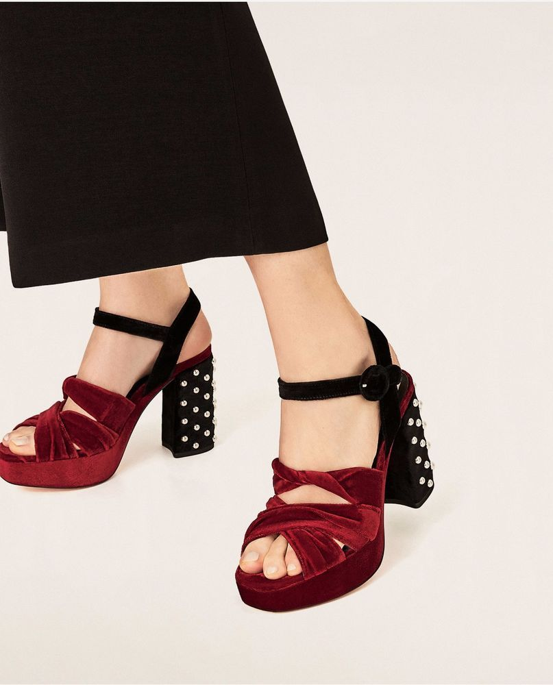 Zara VELVET SANDALS WITH BEADED DETAIL How Much Cheap Online Manchester Clearance Authentic Clearance Great Deals aVik5PPFDU