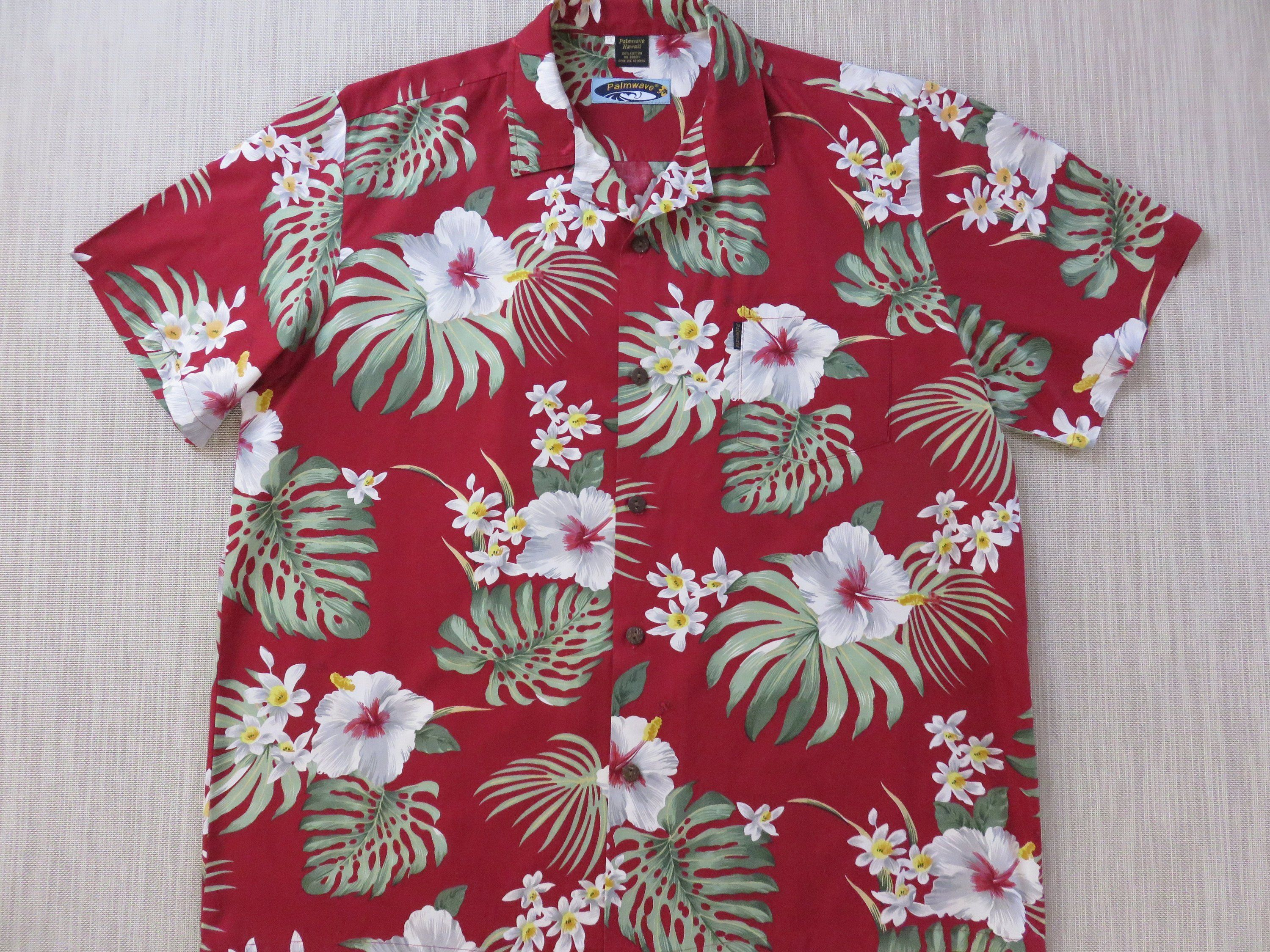 81e7d3e9 Mens Hawaiian Shirt PALMWAVE Hawaii Rockin' Red Aloha Shirt Trippy Tropical  Hibiscus Print 100% Cotton Camp - 2XL - Oahu Lew's Shirt Shack